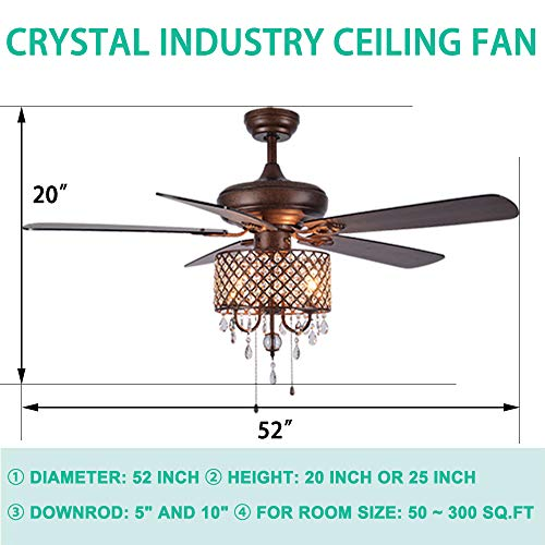 Rustic Ceiling Fan With Crystal Light Home Indoor Quiet Fan Light Reversible Wood Blades Ceiling Fan Chandelier Bedroom Living Room Family Ideal Crystal Fan Light New Bronze 52 Inch 0 0