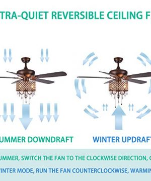 Rustic Ceiling Fan With Crystal Light Home Indoor Quiet Fan Light Reversible Wood Blades Ceiling Fan Chandelier Bedroom Living Room Family Ideal Crystal Fan Light New Bronze 52 Inch 0 1 300x360