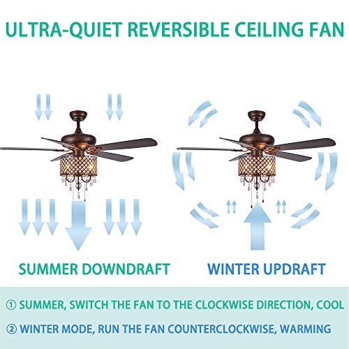 Rustic Ceiling Fan With Crystal Light Home Indoor Quiet Fan Light Reversible Wood Blades Ceiling Fan Chandelier Bedroom Living Room Family Ideal Crystal Fan Light New Bronze 52 Inch 0 1