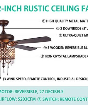 Rustic Ceiling Fan With Crystal Light Home Indoor Quiet Fan Light Reversible Wood Blades Ceiling Fan Chandelier Bedroom Living Room Family Ideal Crystal Fan Light New Bronze 52 Inch 0 2 300x360
