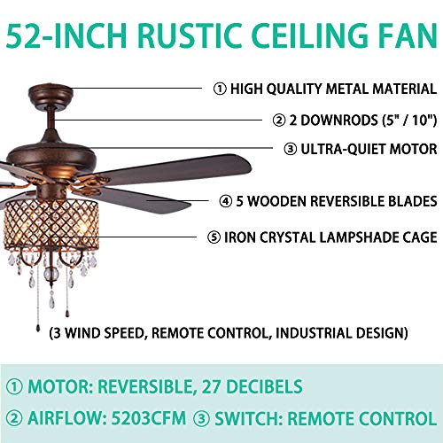 Rustic Ceiling Fan With Crystal Light Home Indoor Quiet Fan Light Reversible Wood Blades Ceiling Fan Chandelier Bedroom Living Room Family Ideal Crystal Fan Light New Bronze 52 Inch 0 2