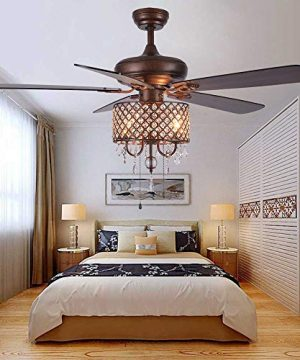 Rustic Ceiling Fan With Crystal Light Home Indoor Quiet Fan Light Reversible Wood Blades Ceiling Fan Chandelier Bedroom Living Room Family Ideal Crystal Fan Light New Bronze 52 Inch 0 3 300x360