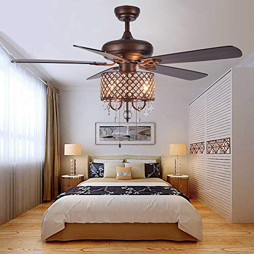 Rustic Ceiling Fan With Crystal Light Home Indoor Quiet Fan Light Reversible Wood Blades Ceiling Fan Chandelier Bedroom Living Room Family Ideal Crystal Fan Light New Bronze 52 Inch 0 3