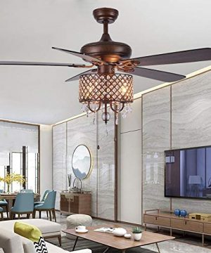 Rustic Ceiling Fan With Crystal Light Home Indoor Quiet Fan Light Reversible Wood Blades Ceiling Fan Chandelier Bedroom Living Room Family Ideal Crystal Fan Light New Bronze 52 Inch 0 300x360