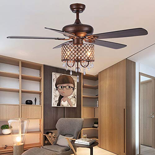Rustic Ceiling Fan With Crystal Light Home Indoor Quiet Fan Light Reversible Wood Blades Ceiling Fan Chandelier Bedroom Living Room Family Ideal Crystal Fan Light New Bronze 52 Inch 0 4