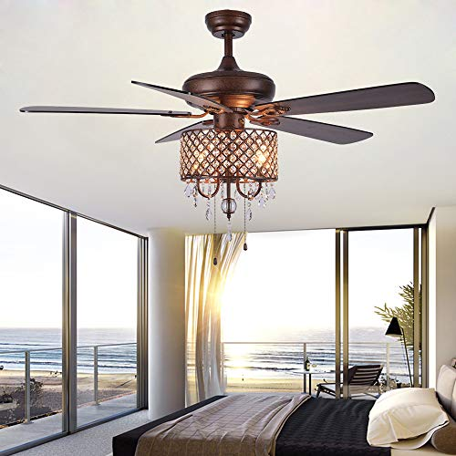 Rustic Ceiling Fan With Crystal Light Home Indoor Quiet Fan Light Reversible Wood Blades Ceiling Fan Chandelier Bedroom Living Room Family Ideal Crystal Fan Light New Bronze 52 Inch 0 5