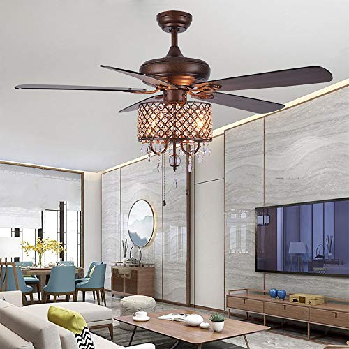 Rustic Ceiling Fan With Crystal Light Home Indoor Quiet Fan Light Reversible Wood Blades Ceiling Fan Chandelier Bedroom Living Room Family Ideal Crystal Fan Light New Bronze 52 Inch 0