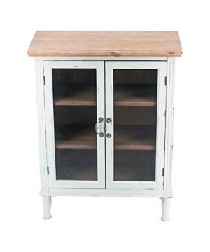 Rustic Farmhouse Buffet Sideboard Kitchen Dining Storage Cabinet With 2 Glass Doors 3 Shelves Natural Wood Top Distressed White Cabinet Country Vintage Furniture42 H 0 300x360