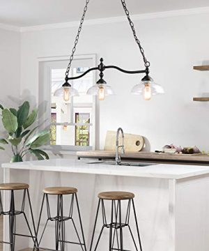 Rustic Kitchen Island Lighting 3 Light Farmhouse Chandelier For Dining Room 381 Pool Table Light With Clear Glass Shades 0 1 300x360