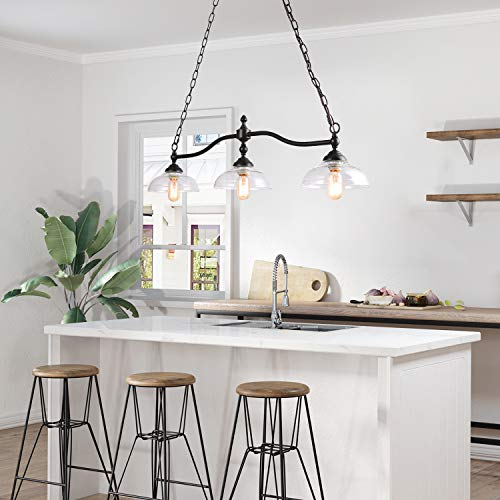 Rustic Kitchen Island Lighting 3 Light Farmhouse Chandelier For Dining Room 381 Pool Table Light With Clear Glass Shades 0 1