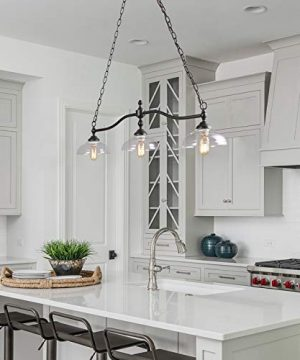 Rustic Kitchen Island Lighting 3 Light Farmhouse Chandelier For Dining Room 381 Pool Table Light With Clear Glass Shades 0 3 300x360