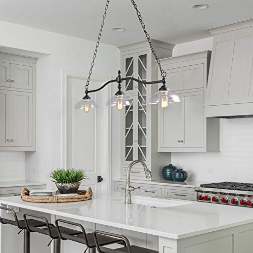 Rustic Kitchen Island Lighting 3 Light Farmhouse Chandelier For Dining Room 381 Pool Table Light With Clear Glass Shades 0 3
