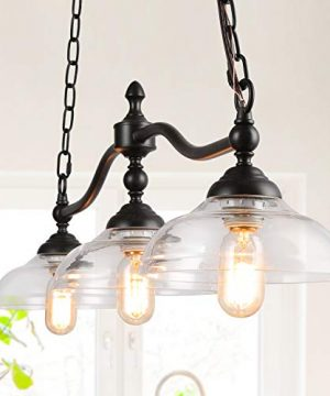Rustic Kitchen Island Lighting 3 Light Farmhouse Chandelier For Dining Room 381 Pool Table Light With Clear Glass Shades 0 300x360