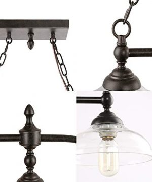 Rustic Kitchen Island Lighting 3 Light Farmhouse Chandelier For Dining Room 381 Pool Table Light With Clear Glass Shades 0 5 300x360