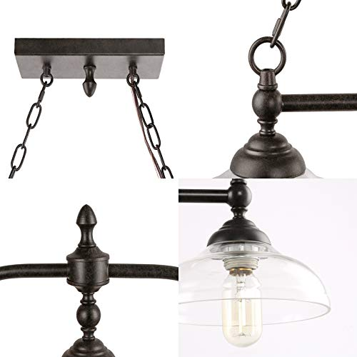 Rustic Kitchen Island Lighting 3 Light Farmhouse Chandelier For Dining Room 381 Pool Table Light With Clear Glass Shades 0 5