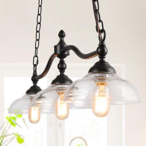 Rustic Kitchen Island Lighting 3 Light Farmhouse Chandelier For Dining Room 381 Pool Table Light With Clear Glass Shades 0