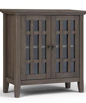 SIMPLIHOME Bedford Storage Media Cabinet 32 Inch Farmhouse Grey 0 300x360