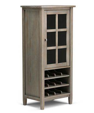SIMPLIHOME Warm Shaker 12 Bottle SOLID WOOD 23 Inch Wide Rustic High Storage Wine Rack In Distressed Grey 0 300x360