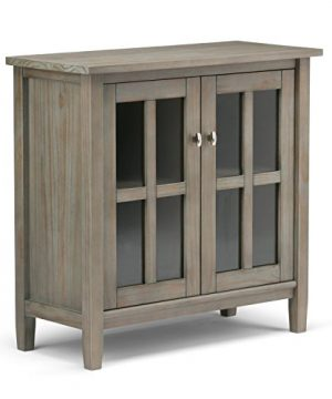 SIMPLIHOME Warm Shaker SOLID WOOD 32 Inch Wide Rustic Low Storage Cabinet In Distressed Grey With 2 Adjustable Shelves Tempered Glass Door 0 300x360