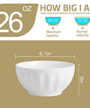 SWEEJAR Ceramic Fluted Bowl Set 26 Oz For Cereal Salad Pasta Soup Dishwasher Microwave Safe Set Of 6 White 0 1 300x360