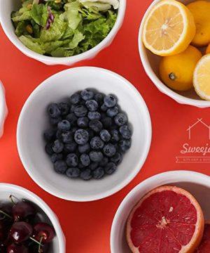 SWEEJAR Ceramic Fluted Bowl Set 26 Oz For Cereal Salad Pasta Soup Dishwasher Microwave Safe Set Of 6 White 0 2 300x360