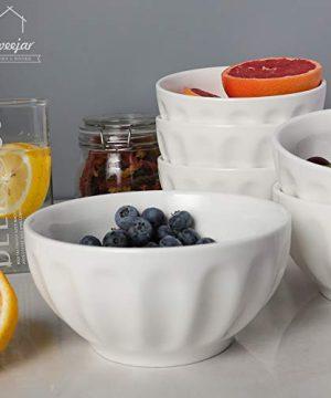 SWEEJAR Ceramic Fluted Bowl Set 26 Oz For Cereal Salad Pasta Soup Dishwasher Microwave Safe Set Of 6 White 0 3 300x360