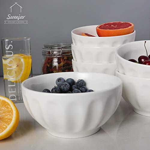 SWEEJAR Ceramic Fluted Bowl Set 26 Oz For Cereal Salad Pasta Soup Dishwasher Microwave Safe Set Of 6 White 0 3