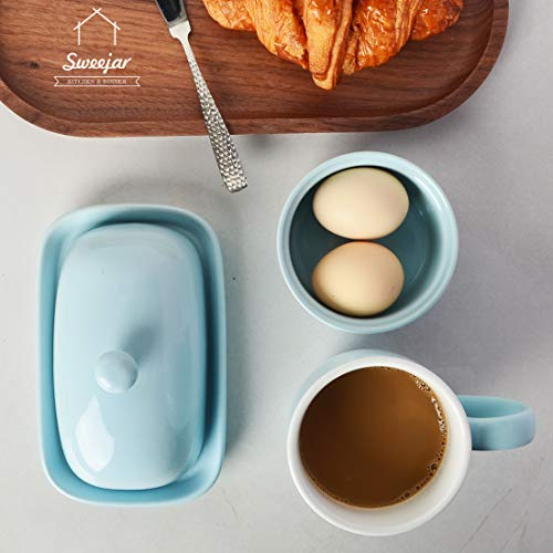 SWEEJAR Ceramics Butter Dish With Lid Butter Keeper Container EastWest Coast Butter 7 Inches 0 0