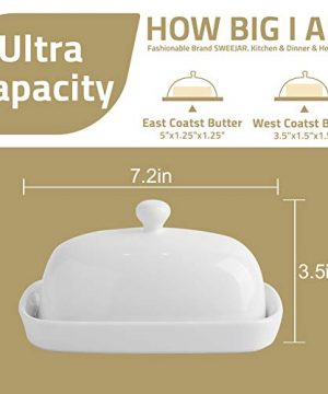 SWEEJAR Ceramics Butter Dish With Lid Butter Keeper Container EastWest Coast Butter 7 Inches 0 3 300x360