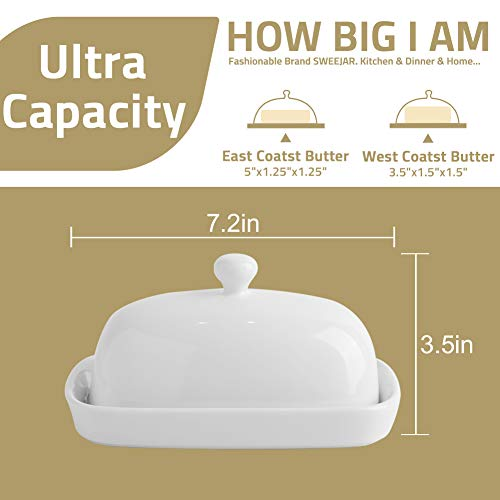 SWEEJAR Ceramics Butter Dish With Lid Butter Keeper Container EastWest Coast Butter 7 Inches 0 3