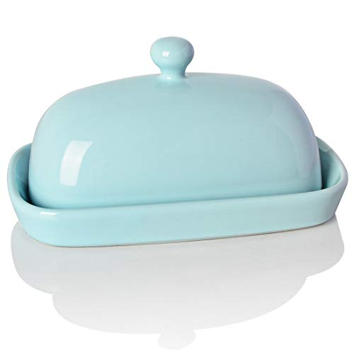 SWEEJAR Ceramics Butter Dish With Lid Butter Keeper Container EastWest Coast Butter 7 Inches 0