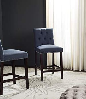 Safavieh Home Collection Norah Navy And Espresso Counter Stool Set Of 2 0 300x343