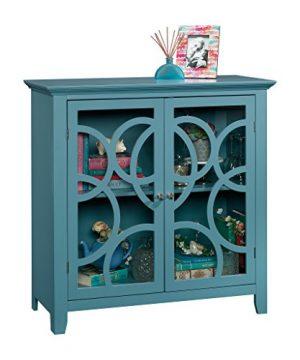 Sauder Shoal Creek Elise Display Cabinet Moody Blue Finish 0 300x360