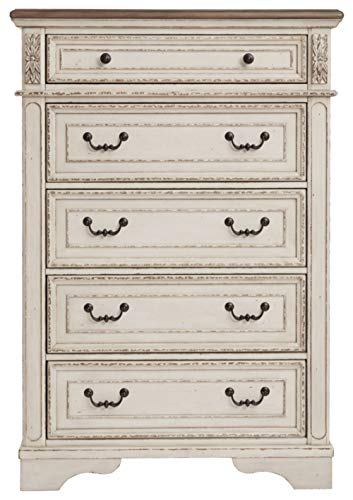 Signature Design By Ashley B743 46 Realyn Chest Of Drawers Chipped White 0 1