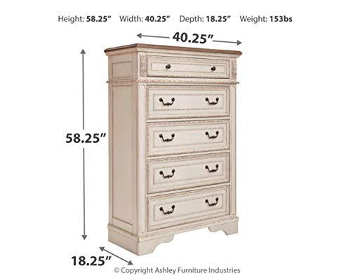 Signature Design By Ashley B743 46 Realyn Chest Of Drawers Chipped White 0 2