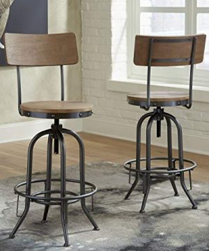 Signature Design By Ashley Pinnadel Swivel Bar Stool Pub Height Set Of 2 Light Brown 0 300x360