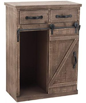 Sliding Barn Door Accent Wood Storage Cabinet Farmhouse Style Wood End Table With 2 Drawers And 1 Cabinet Vintage Furniture Distressed Brown 24 W X 13 D X 32 H 0 300x360
