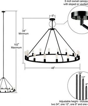 Sonoro Large 48 Inch 16 Light Round Dining Room Industrial Chandelier Black Rustic Kitchen Island Light Fixtures With LED Bulbs LL CH5 48 5BLK 0 0 300x360
