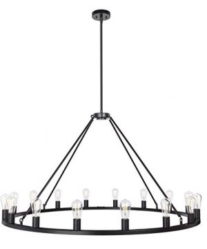 Sonoro Large 48 Inch 16 Light Round Dining Room Industrial Chandelier Black Rustic Kitchen Island Light Fixtures With LED Bulbs LL CH5 48 5BLK 0 1 300x360