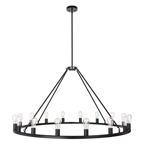 Sonoro Large 48 Inch 16 Light Round Dining Room Industrial Chandelier Black Rustic Kitchen Island Light Fixtures With LED Bulbs LL CH5 48 5BLK 0 1