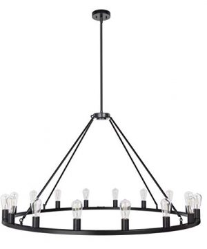 Sonoro Large 48 Inch 16 Light Round Dining Room Industrial Chandelier Black Rustic Kitchen Island Light Fixtures With LED Bulbs LL CH5 48 5BLK 0 2 300x360