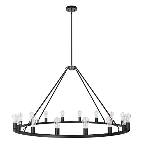 Sonoro Large 48 Inch 16 Light Round Dining Room Industrial Chandelier Black Rustic Kitchen Island Light Fixtures With LED Bulbs LL CH5 48 5BLK 0 2
