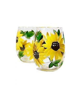 Sunflower Stemless Wine Glasses Gift For Women Sunflower Kitchen Decor Rustic Country Farmhouse Set Of 2 Hand Painted 0 2 300x360