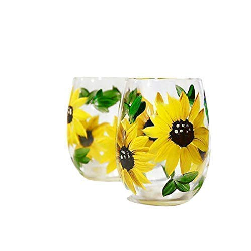 Sunflower Stemless Wine Glasses Gift For Women Sunflower Kitchen Decor Rustic Country Farmhouse Set Of 2 Hand Painted 0 2