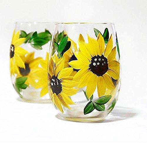 Sunflower Stemless Wine Glasses Gift For Women Kitchen Decor Rustic Country Farmhouse Set Of 2 Hand Painted Goals