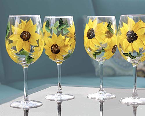 Sunflower Stemmed Wine Glasses Gift For Women Kitchen Decor Rustic Country Farmhouse Set Of 4 Hand Painted Goals