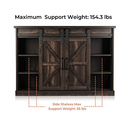 TURBRO Fireside FS48 TV Stand With Realistic Flames Fireplace Supports TVs Up To 55 With Sliding Barn Door Entertainment Center And Adjustable Shelves For Living Room Storage Rustic Brown 0 0
