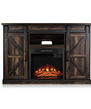TURBRO Fireside FS48 TV Stand With Realistic Flames Fireplace Supports TVs Up To 55 With Sliding Barn Door Entertainment Center And Adjustable Shelves For Living Room Storage Rustic Brown 0 300x360