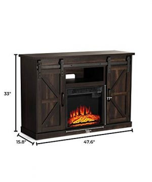TURBRO Fireside FS48 TV Stand With Realistic Flames Fireplace Supports TVs Up To 55 With Sliding Barn Door Entertainment Center And Adjustable Shelves For Living Room Storage Rustic Brown 0 4 300x360