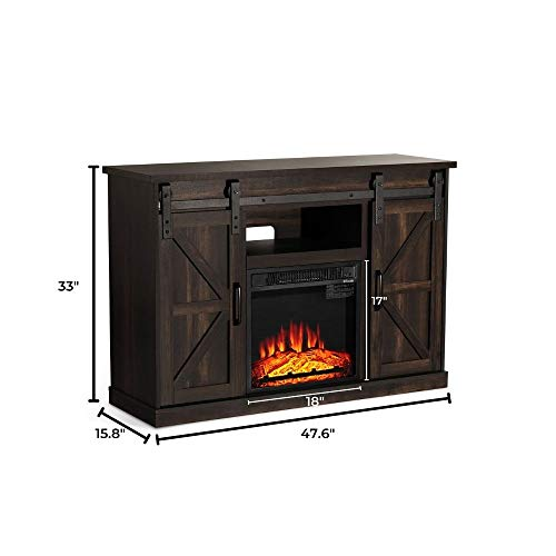 TURBRO Fireside FS48 TV Stand With Realistic Flames Fireplace Supports TVs Up To 55 With Sliding Barn Door Entertainment Center And Adjustable Shelves For Living Room Storage Rustic Brown 0 4
